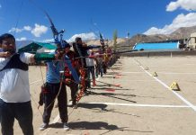 Archers from Ladakh during round of election for National Archery tournament —Excelsior/Morup Stanzin