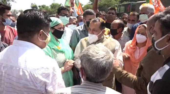Union Minister Dr Jitendra Singh interacting with people at Udhampur on Saturday.
