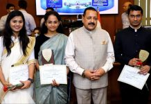 Union Minister Dr Jitendra Singh with first three All India toppers of IAS/Civil Services exam, Shubam Kumar, Jagrati Awasthi and Ankita Jain, who called on him at DoPT headquarters at North Block, New Delhi on Thursday.