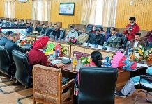 Union MoS for Women & Child Development and Ayush chairing a meeting at Baramulla.