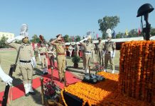 ADGP Jammu Mukesh Singh paying tribute to martyrs on the occasion of Police Commemoration Day in Jammu, —Excelsior/Rakesh