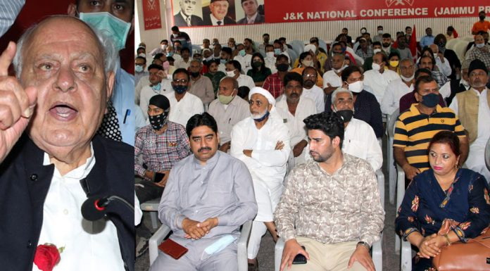 NC president Dr Farooq Abdullah addressing party workers in Jammu on Thursday. — Excelsior/Rakesh