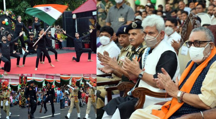 Union Minister for Rural Development Giriraj Singh and Lieutenant Governor Manoj Sinha at the launch of 'Beat the Retreat' ceremony at Octroi Post in Suchetgarh on Saturday.