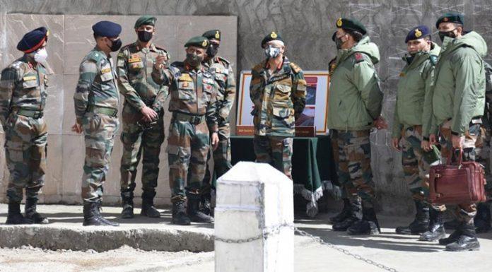Army chief Gen M M Naravane at a forward post in Eastern Ladakh.