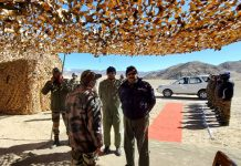 Air Chief Marshal V R Chaudhari at Air Force station Leh. (UNI)