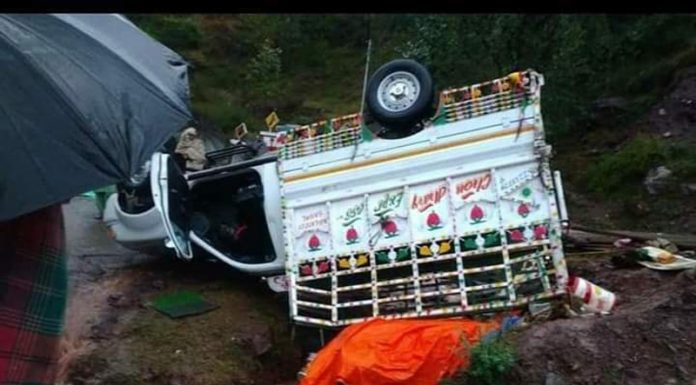 Overturned load carrier that met with accident in Mahore on Saturday.