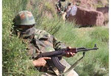 Security personnel at the encounter site in Bhatta Durrian forests of Mendhar in Poonch district on Monday. (UNI)