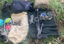 Arms, ammunition and other belongings of the militants recovered from Bhatta Durrian forests of Mendhar on Tuesday. — Excelsior/Rahi Kapoor
