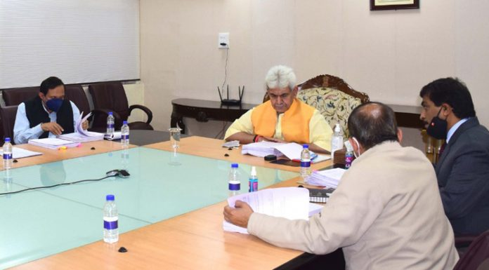 Lieutenant Governor Manoj Sinha chairs Administrative Council meeting at Srinagar on Friday.