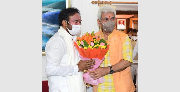 Lieutenant Governor Manoj Sinha with Union Minister for Tourism G Kishan Reddy in Srinagar on Thursday.