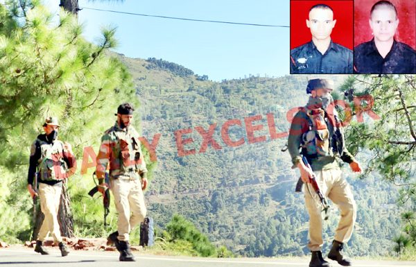 Army personnel patrol near Bhatta Durrian forests in Mendhar on Friday. (Inset) Martyrs. -Excelsior/Rahi Kapoor