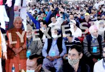 Union Home Minister Amit Shah, MoS in PMO Dr Jitendra Singh and Lieutenant Governor Manoj Sinha at a massive public rally at Bhagwati Nagar in Jammu on Sunday. —Excelsior/Rakesh