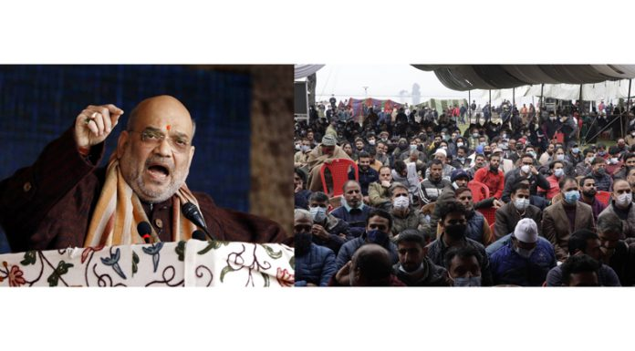 Union Home Minister Amit Shah addressing public gathering at SKICC in Srinagar on Monday. —Excelsior/Shakeel