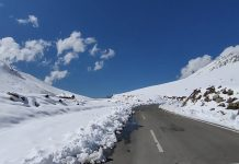 A beautiful view of snow capped mountains on Pir Panjal range of Poonch on Tuesday. (UNI)