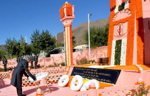 President Ram Nath Kovind paying tributes at Kargil War Memorial in Drass on Friday.