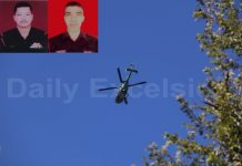 A helicopter pressed into service to locate militants over Bhatta Durrian forests in Mendhar on Saturday. (Inset) Martyrs. —Excelsior/Rahi Kapoor