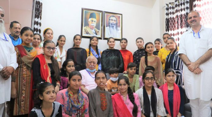 RSS chief, Dr Mohan Bhagwat with Sewa Bharti students at Jammu on Thursday.