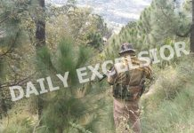 Security personnel stand guard during an encounter with militants at Bhatta Durrian forests of Mendhar in Poonch district on Sunday. —Excelsior/Rahi Kapoor