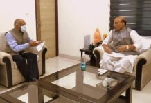 Lieutenant Governor of Ladakh Radha Krishna Mathur in a meeting with Defence Minister Rajnath Singh in New Delhi on Sunday.