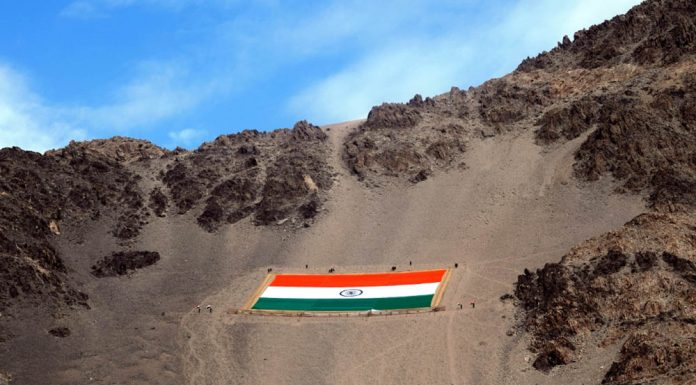 National tricolor unfurled on the hill overlooking Leh valley by the Fire and Fury Corps on the occasion of 152nd birth anniversary of the Father of the Nation Mahatma Gandhi along with 'Azadi Ka Amrit Mahotsav', commemorating 75th anniversary of India's independence in Leh on Saturday. (UNI)