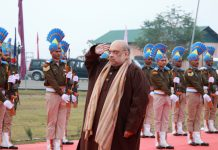 Union Home Minister Amit Shah paying homage to the fallen heroes at the Martyrs' Memorial in Pulwama on Tuesday. (UNI)