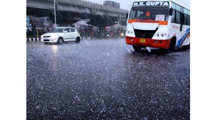 Jammu City witnesses massive hailstorm on Saturday. -Excelsior/Rakesh