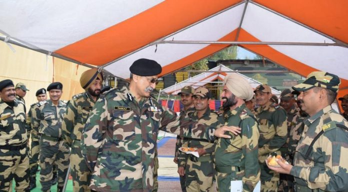 DG BSF Pankaj Singh interacting with jawans in Kashmir on Tuesday.