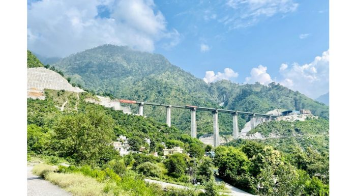 A view of Railway bridge under construction on Katra-Banihal track in Reasi district. —Excelsior/Karandeep Singh