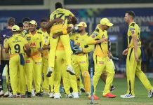 CSK players celebrating victory by defeating KKR during IPL final at Dubai on Friday.