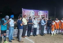 Players interacting with dignitaries at Sainik Football Ground, Sainik Colony, Jammu on Sunday.