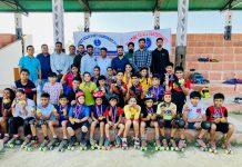 Winners posing for a group photograph with dignitaries at Kathua.