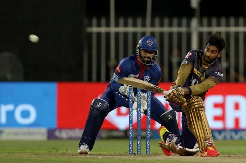 Venkatesh Iyer playing a shot during his knock of 55 runs against Delhi Capitals at Sharjah on Wednesday.