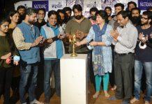 Noted actor Bhasha Sumbli inaugurating an acting workshop at Natrang Jammu.
