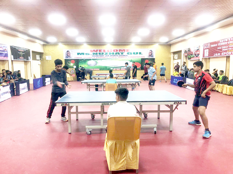 Players in action during the Table Tennis matches at Jammu on Wednesday.
