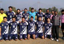 Winning team posing for a group photograph at TRC Ground Srinagar.