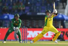 Steven Smith playing a shot against South Africa in T20 World Cup match at Abu Dhabi.