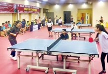 Players in action during a Table Tennis match at Jammu on Thursday.