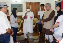 Union Minister Dr Virendra Kumar interacting with Judokas in Jammu on Friday. Advisor Farroq Khan is also seen in picture.