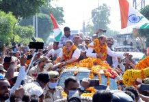 Devender Singh Rana & Surjit Singh Slathia being taken in a form of procession on their arrival in Jammu on Saturday. — Excelsior/Rakesh