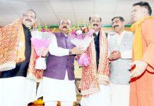 BJP senior leaders welcoming Devender Singh Rana and Surjit Singh Slathia in party at Jammu on Sunday. -Excelsior/Rakesh