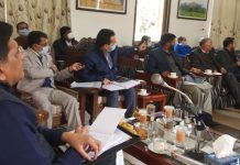 Union Minister for Textiles, Piyush Goyal chairing a meeting in Anantnag on Monday.