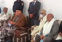 NC president Dr Farooq Abdullah and others at public rally in Surankote on Tuesday.