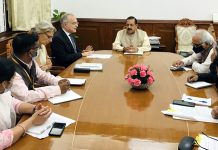 Union Minister Dr Jitendra Singh holding a meeting with the European Union (EU) delegation led by Ambassador Ugo Astuto at North Block, New Delhi on Wednesday.