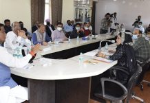 Union Minister of State for Railways Raosaheb Patil Danve chairing a meeting at Ramban.