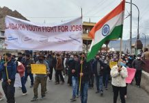 Youth taking out a protest rally in Leh on Monday. -Excelsior/Morup Stanzin