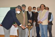 Prominent Dogri writers attending a workshop at SMVDU on Sunday.