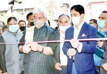 Lt Governor Manoj Sinha inaugurating multi-level car parking at Lal Chowk in Srinagar.