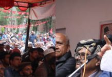 NC President and former Chief Minister Dr Farooq Abdullah addressing party workers at Mendhar in Poonch district on Sunday.