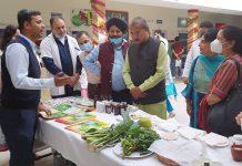 Union MoS for Women & Child Development, Dr Munjpara Mahendrabhai inspecting stall at Ayurvedic Hospital Jammu on Monday.