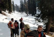 Missing Budhal villagers traced in Shopian area being helped by others to reach nearby hospital.